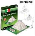 3d puzzle cubicfun arquitetura modelo de papelão brinquedo pirâmide maya world famous edifício montagem diy brinquedos para as crianças