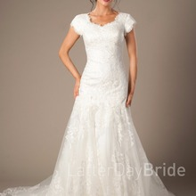 cecelle Vintage Ivory Wedding Dresses With Cap Sleeves