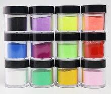 12 קופסות ב 1 סט לערבב פיגמנט אבקת פיסול אבקת 12 צבעים אקריליק נייל טבילה אבקת ב 1 10 גרם סיר ברור ורוד אבק, io