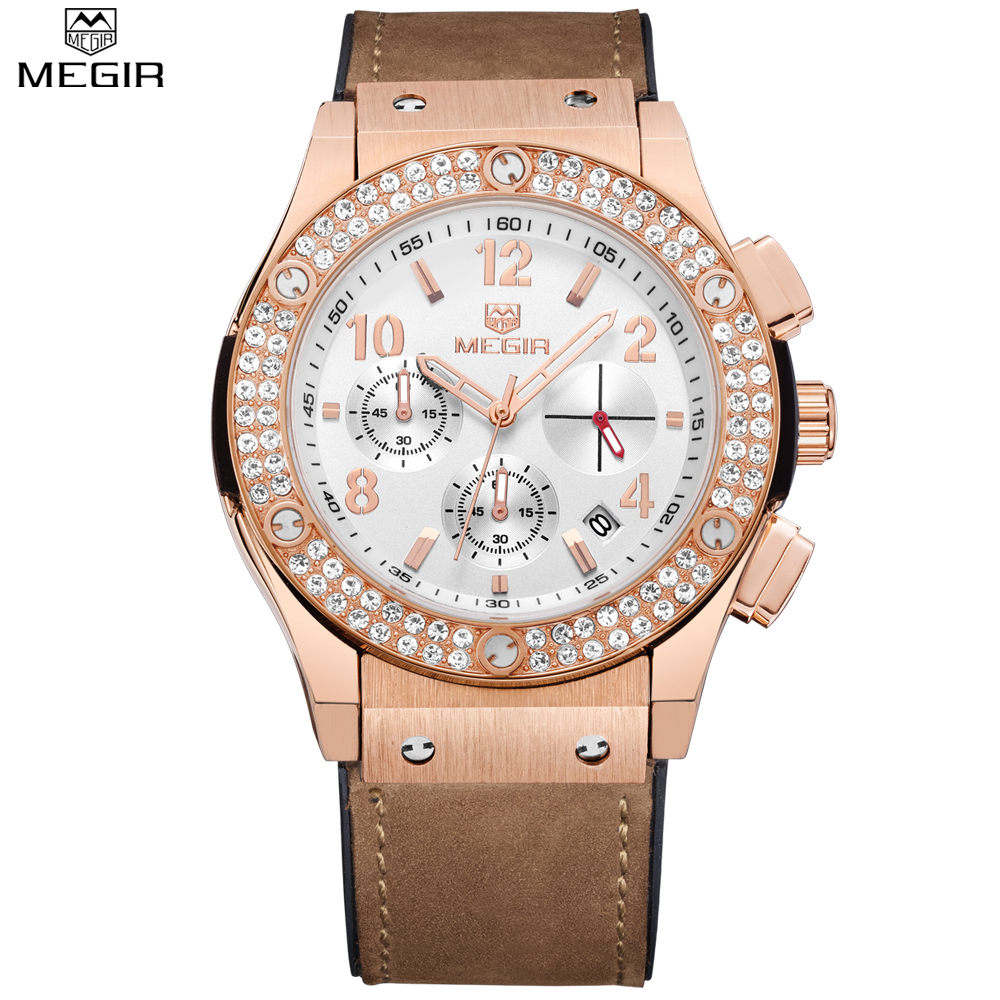 MEGIR Chronograph Auto Date Casual Men Or Women Dress Watch Rose Gold Diamond Crystal Watches Water