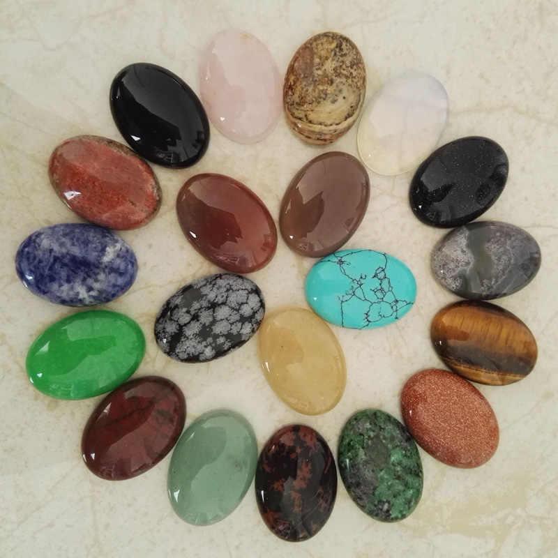Pedra natural contas mistos para fazer jóias 25X18 MILÍMETROS Assorted forma oval beads charme 20 pçs/lote Frete grátis nenhum buraco atacado