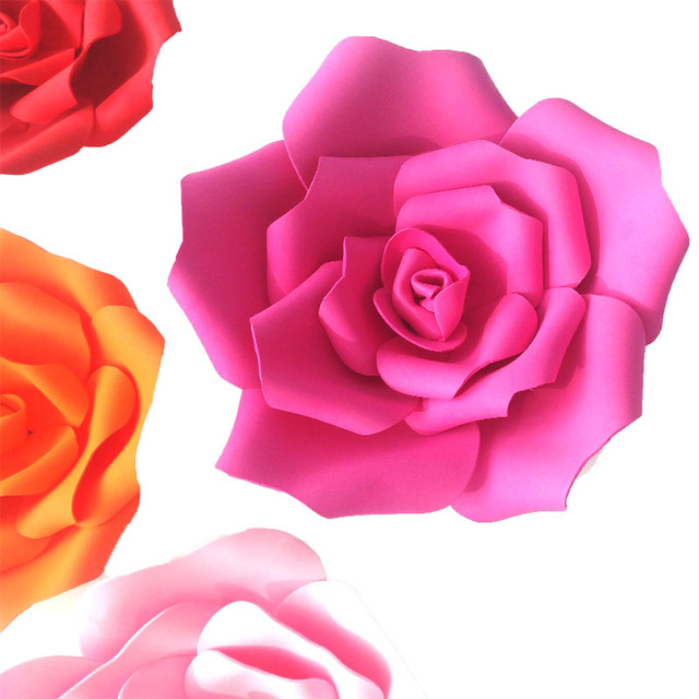 Artificial rose large foam flower wedding stage background wall artificial rose large foam flower wedding stage background wall decoration paper flower home party decor diameter mightylinksfo Image collections