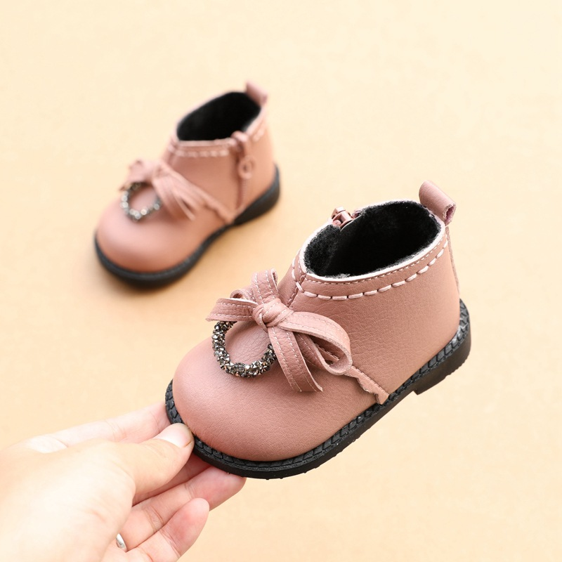 2019 Winter Fashion Girl Shoes Cotton Short Boots 1-2 Years Old Babies Princess Shoes Infant Toddler First Walkers
