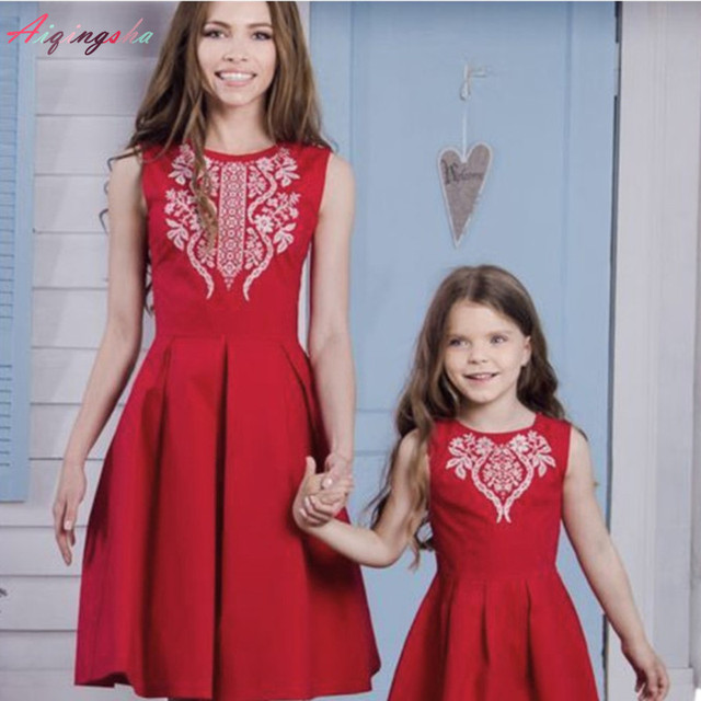 Mother Daughter Dresses for Wedding Lace Red Mommy and Me Clothes 2018 Mom  and Daughter Dress Sleeveles Side Invisible Zipper a3a992686