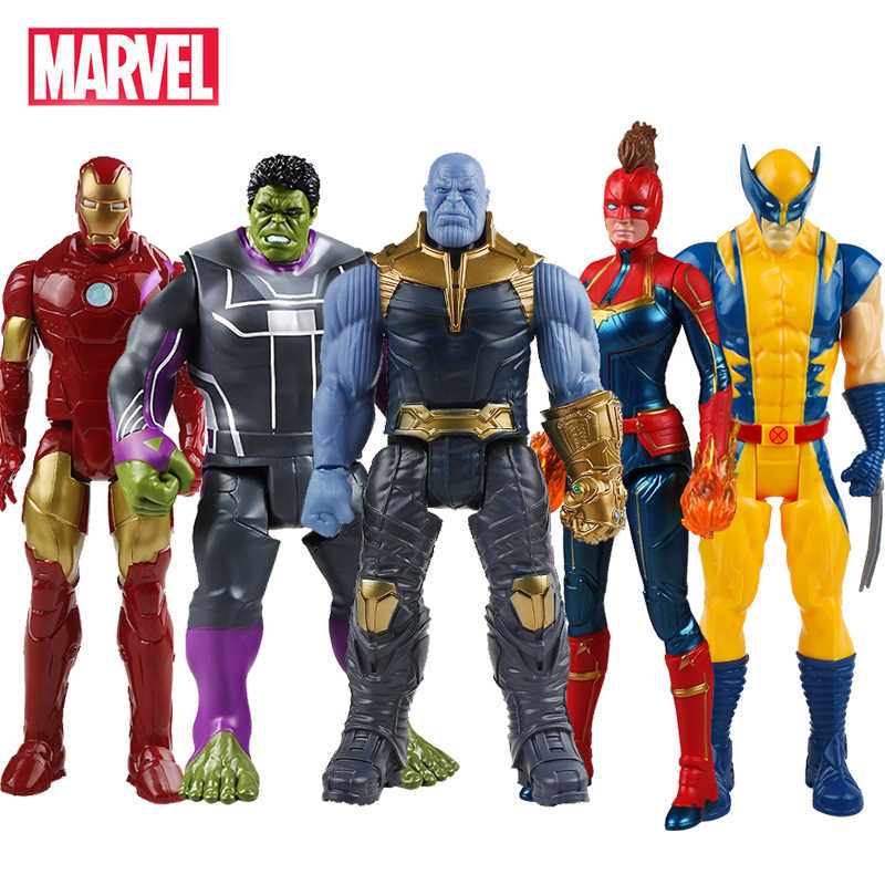 30 Cm Marvel Avengers Mainan Thanos Hulk Buster Spiderman Iron Man Captain America Thor Wolverine Black Panther Action Figure Boneka