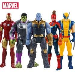 30 см Marvel Мстители игрушечные лошадки танос Халк Бастер Человек-паук Железный человек Капитан Америка Тор Росомаха Черная пантера действие