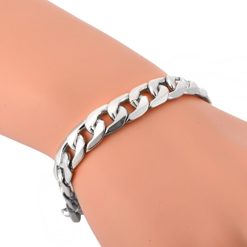 Fashion Jewelry Punk Men Women Silver Chain Link Bracelet Wristband Bangle Gift