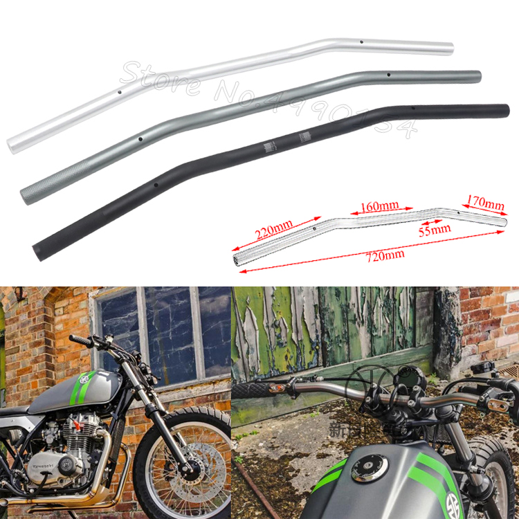 22mm Universal Motorcycle CNC Handlebar Motor Motorbike Aluminum Alloy Handlebars Moto Scooter Retro Black Anti-rust Handle Bars