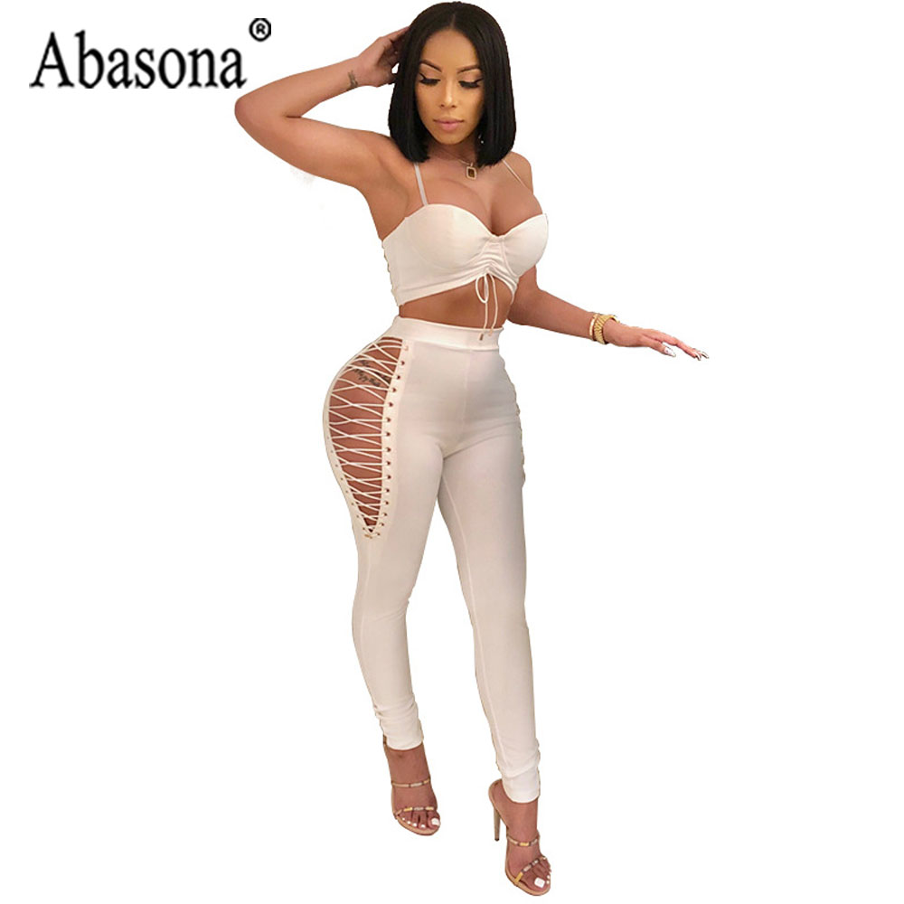 b5731079ab37 Abasona Solid Sexy Bodycon Bandage Jumpsuit Women 2 Piece Set Sleeveless  Backless Jumpsuits Rompers Women Club