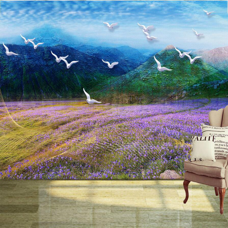 Custom Home Improvement 3d Wall Paper Rolls Photo Wallpaper for Walls 3D Plateau Lavender Flower Landscape Wallpapers custom home improvement 3d wall paper rolls photo wallpaper for company living room backdrop 3d mural desert came wallpapers
