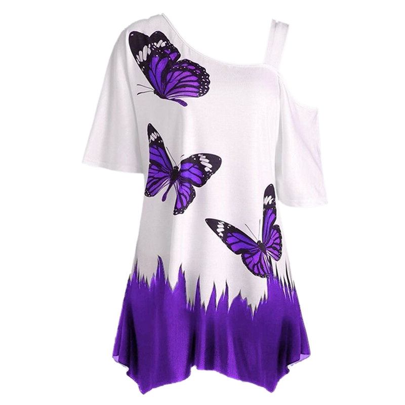 5XL Big Size 2018 New Summer Women T Shirt Tops Casual Half Sleeve Cut Out Butterfly T Shirt Plus Size Female Tees Woman Clothes