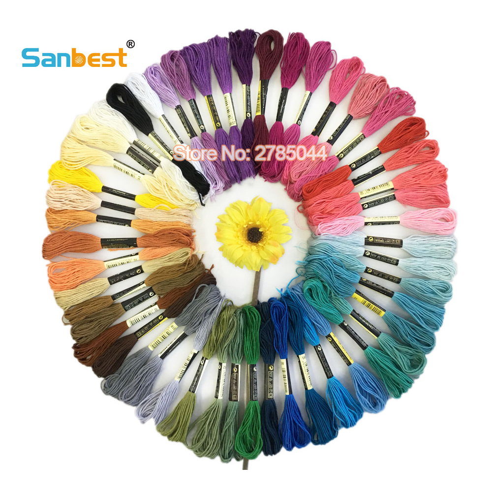 Sanbest 50 Pieces Multi-color Cross Stitch Embroidery Threads Crafts Floss Sewing Threads Embroidery Thread High Quality TH00039