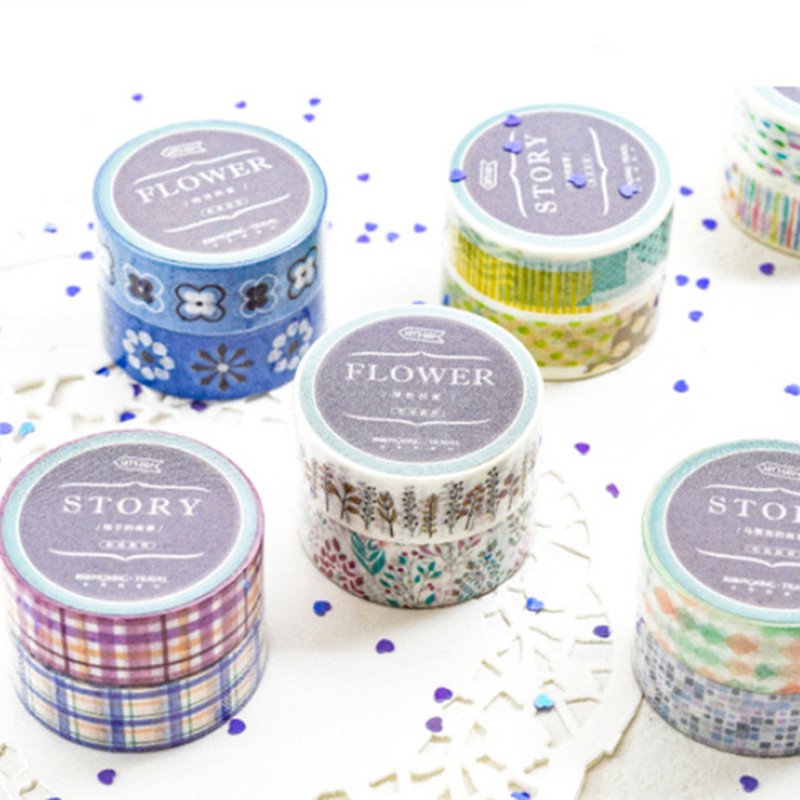 2 Pcs/pack Beautiful Flower Washi Tape Diy Decoration Scrapbooking Planner Masking Tape Adhesive Tape Label Sticker Stationery