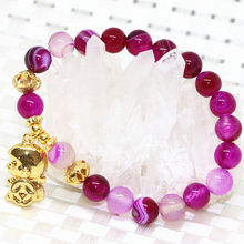 Original design rose red agate round beads 8mm strand bracelets for women monkey pendant elegant jewelry making 7.5inch B2085