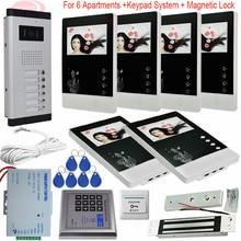 "4.3"" Video Door Phone Intercom Doorbell 6 Monitor Screens+1 Outdoor Camera + Access Control Electromagnetic Lock For Apartments"