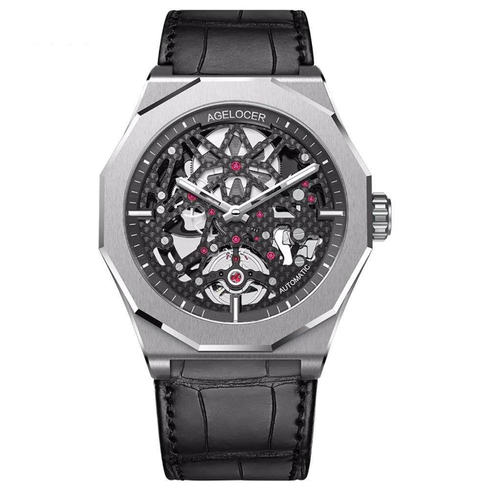Agelocer Skeleton Diver Watches for Men Genuine Leather Strap Luminous Automatic Watches Power Reserve Sport Watches 6001A1Agelocer Skeleton Diver Watches for Men Genuine Leather Strap Luminous Automatic Watches Power Reserve Sport Watches 6001A1