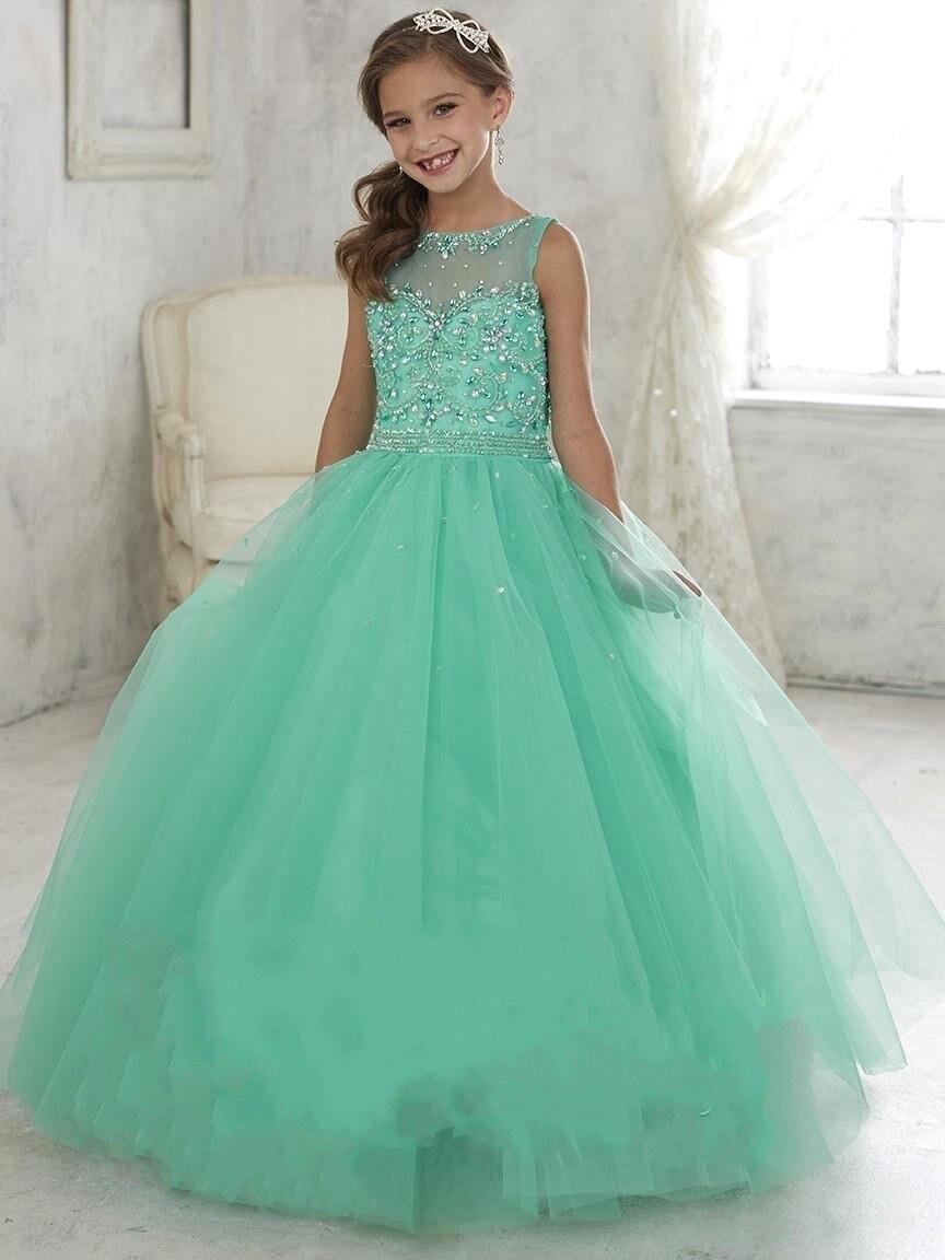 Gorgeous Balón vestido de Encaje de Tul Con Cuentas de Cristal Verde Menta Vestidos  de Niña