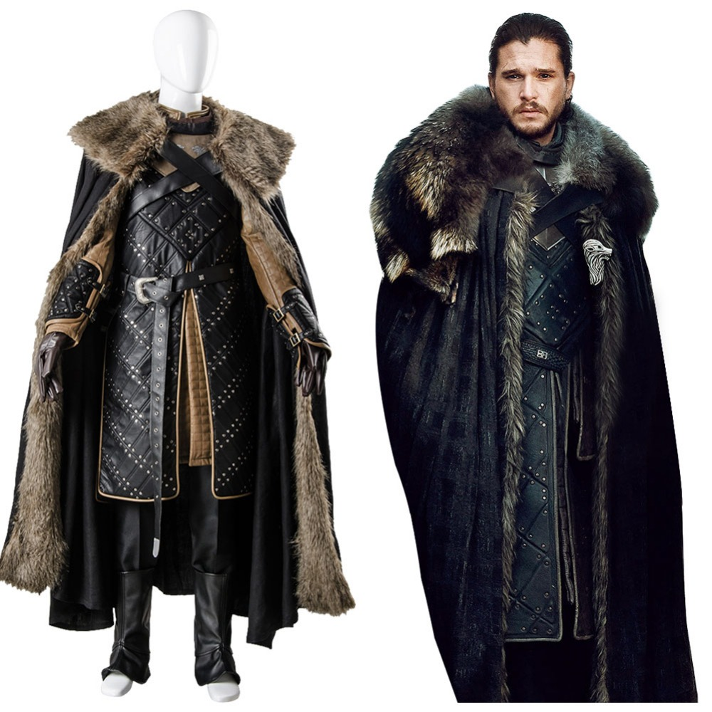 GoT 7 Game of Thrones Season 7 Jon Snow Outfit Cosplay Costume full set