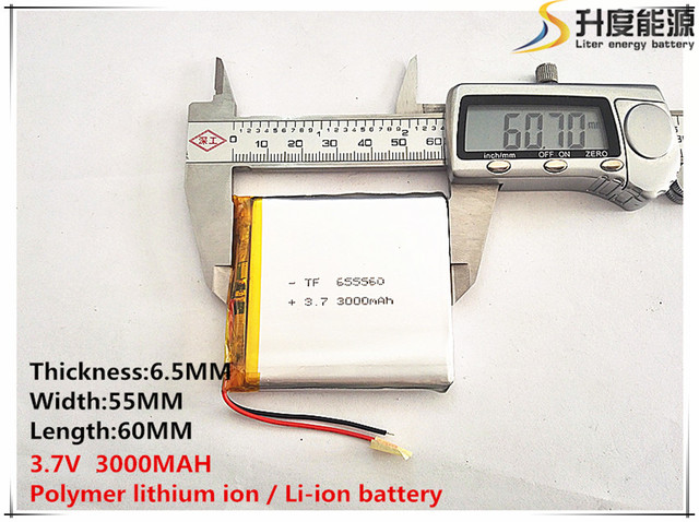 Free shipping 1pcs/lot 655560 3.7 V lithium polymer battery 3000 mah DIY mobile emergency power charging treasure battery
