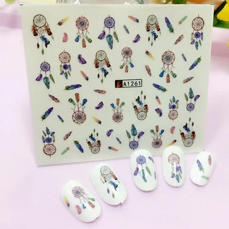ZKO 1 Sheet 2017 New Dream Catcher Water Transfer Nail Art Sticker Decals DIY Decoration For Beauty Tools A1261
