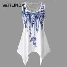 6ca579f14f VESTLINDA Feather Print Lace Insert Handkerchief Tank Top Women Clothing  Racerback Tank Top Summer 2018 Swing Tunic Tank Tops
