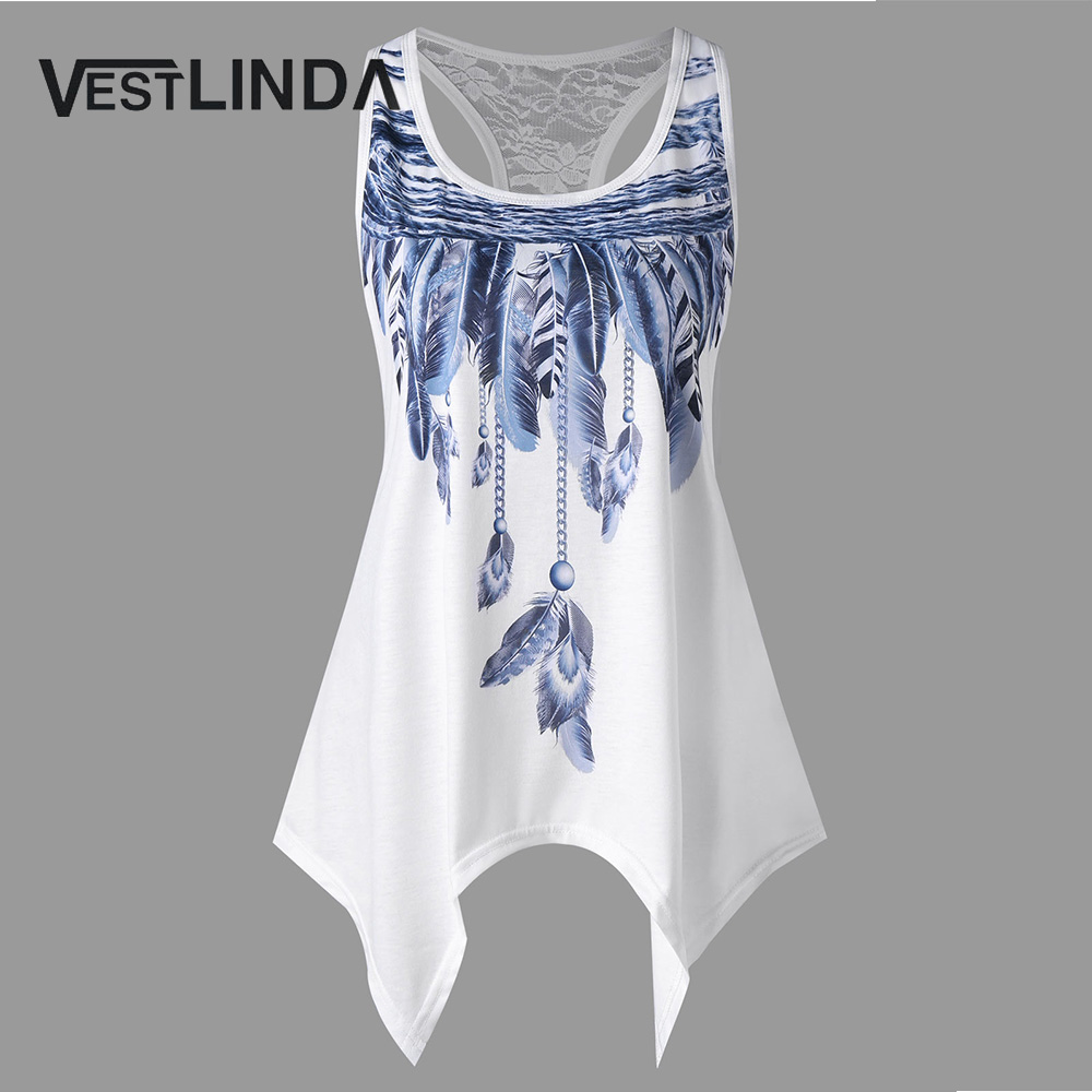 VESTLINDA Feather Print Lace Insert Handkerchief Tank Top Women Clothing Racerback Tank Top Summer 2018 Swing Tunic Tank Tops