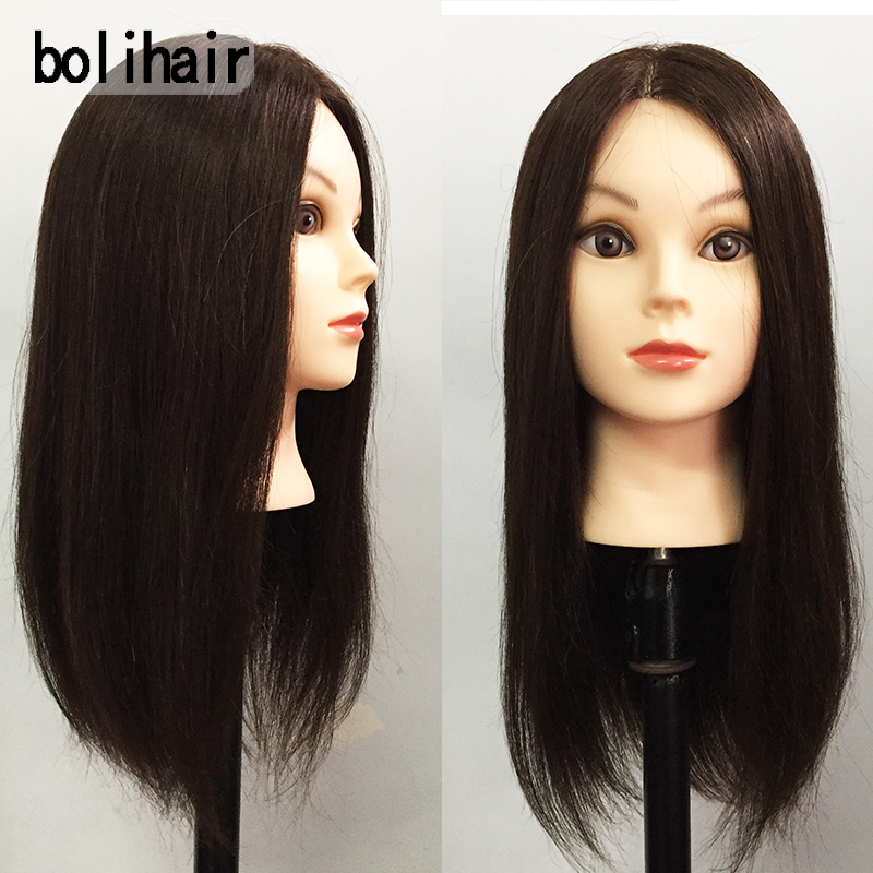18Inch 40% Real Human Hair Training Head With Wig Dummy Doll Head For Hairdresser Practice Hairstyles Hairdos Haircuts Permed