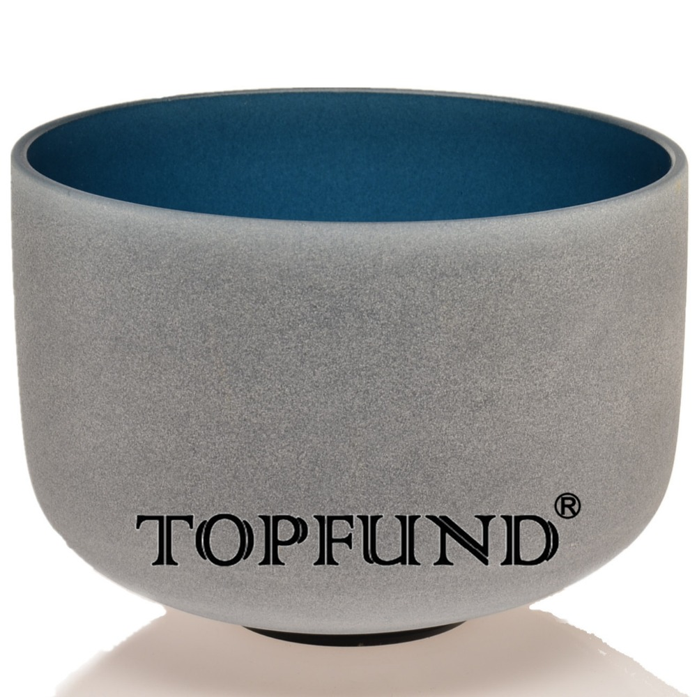 TOPFUND Indigo Color A Third Eye Chakra  Frosted Quartz Crystal Singing Bowl 10 With Free Mallet and O-Ring 8 indigo color a third eye chakra frosted quartz crystal singing bowl with free suede and o ring