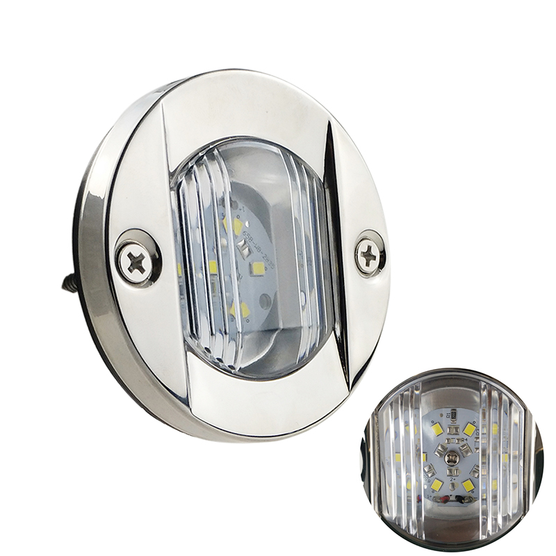 12V DC Marine Boat Transom LED Stern Light Round Stainless Steel Cold White LED Tail Lamp Yacht Accessories in Marine Hardware from Automobiles Motorcycles