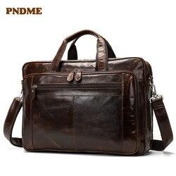 PNDME mens genuine leather 15 inch briefcase vintage cowhide leather shoulder bag  messenger bags business handbag laptop bags