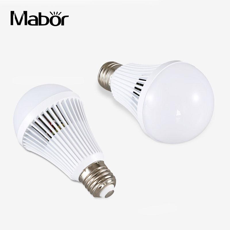 Home LED E27 Intelligent Emergency 7W Light Bulb Lamps White AC110-220V