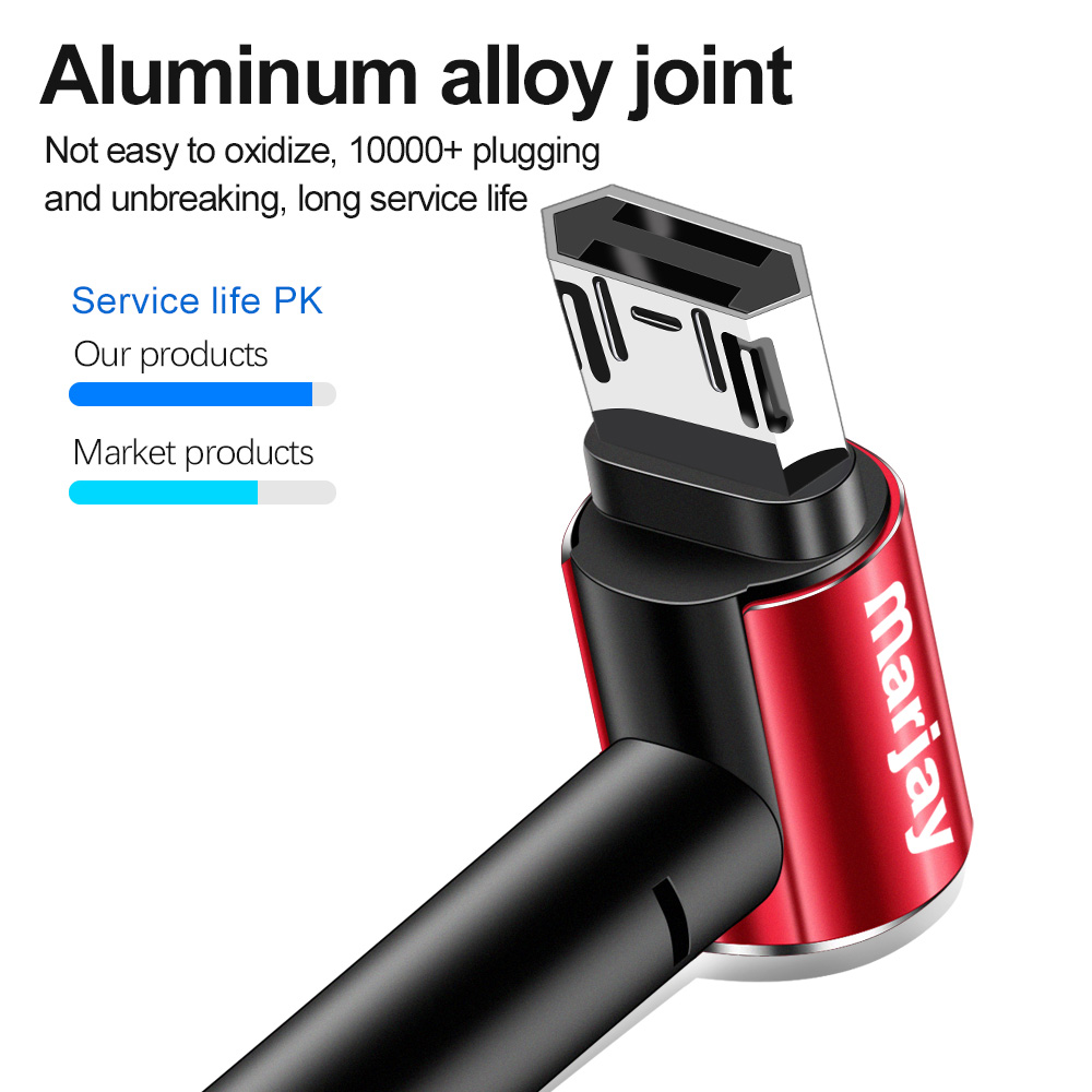 Marjay Micro USB Cable 2 4A Fast Charging 90 Dgree Microusb For Samsung Xiaomi Redmi 4 Note 5 Huawei Android Phone Wire Cord in Mobile Phone Cables from Cellphones Telecommunications