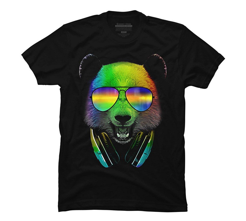 Design By Humans Dj Panda Men's Graphic T Shirt New Tops 2018 Print Letters Men T-Shirt Men'S Short Sleeve T Shirt Cotton
