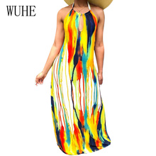 цена на WUHE Summer Women's Contrast Color Sexy Open Back Halter Maxi Dress Female Personality Casual Sleeveless Long Loose Beach Dress