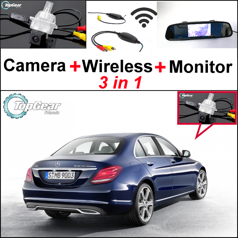 3 in 1 Special WiFi Camera + Wireless Receiver + Mirror Monitor Parking BackUp System For Mercedes Benz C MB W205 2014 2015 wireless pager system 433 92mhz wireless restaurant table buzzer with monitor and watch receiver 3 display 42 call button