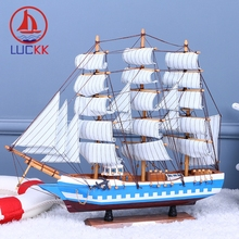 LUCKK DIY 50 CM Wooden Sailboat Ship Model ocean blue wholesale Home office Decoration Accessorie Crafts Exquisite Free Shipping