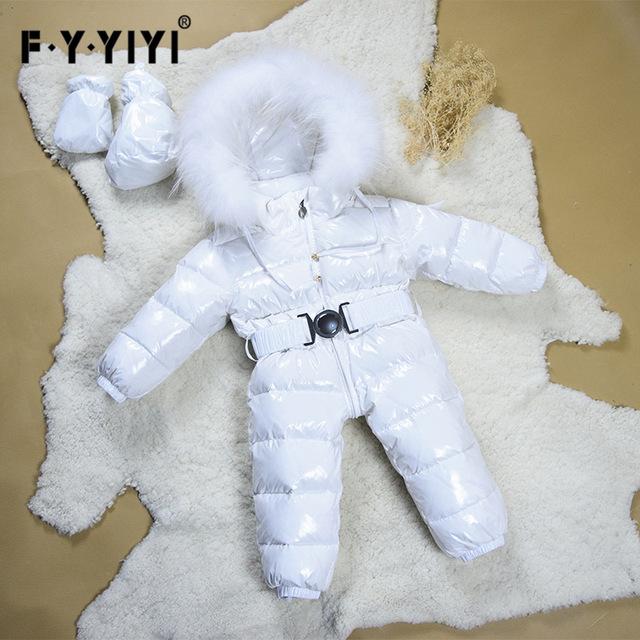 Invierno Estilo Europeo Bebé Recién Nacido Monos de Nieve de Lujo Cuello de piel de Mapache Blanco Mono Del Bebé nueva Chaqueta Para Los Niños 0-5 T