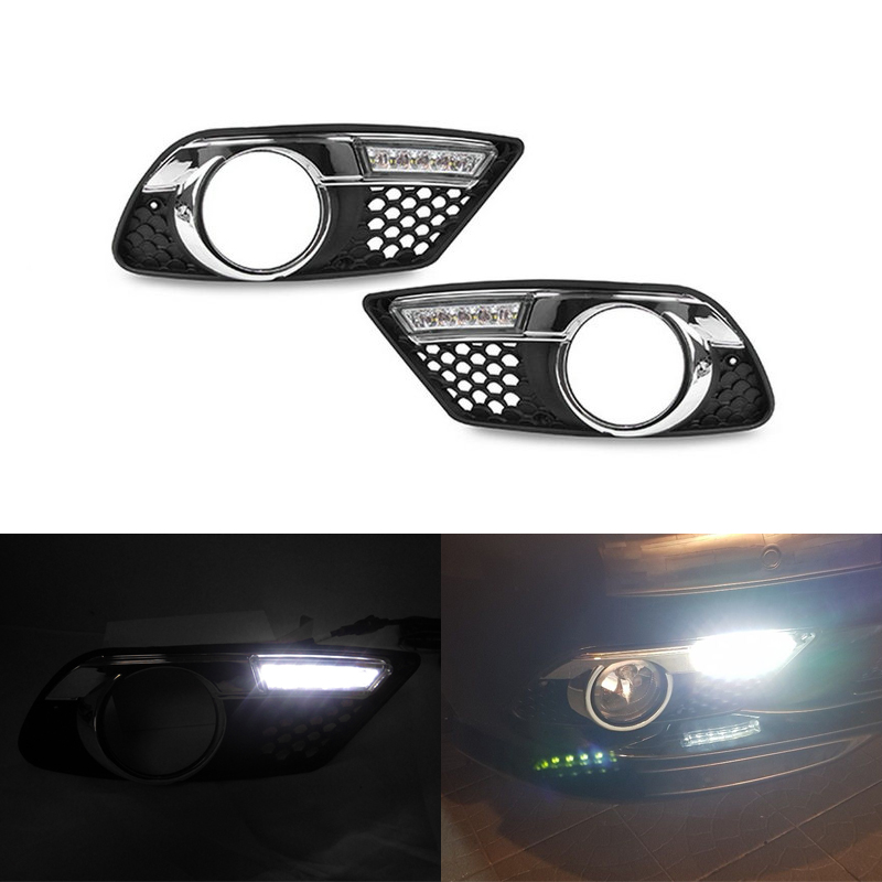 Led Daytime Running Lights DRL For Benz C Class W204 C300 C350 Sedan 12V Parking Led Daylights For Benz Ultra Bright Waterproof yandex w205 amg style carbon fiber rear spoiler for benz w205 c200 c250 c300 c350 4door 2015 2016 2017