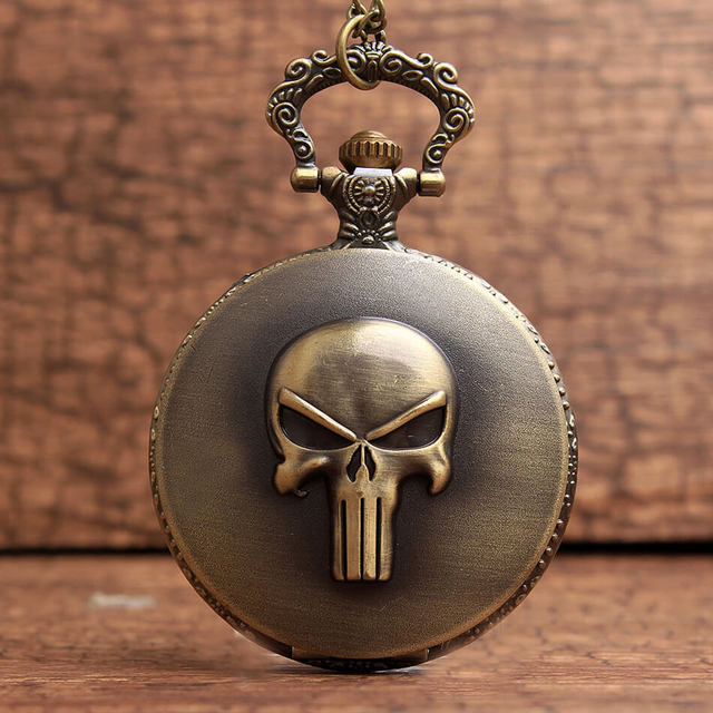 Punisher Skull Pocket Watch Chains Necklace Anime Fob Quartz Pocket Watches Steampunk Pendant Men Kids Gifts reloj de bolsillo