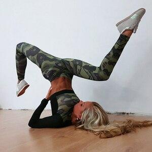 Image 3 - יוגה סט אישה ספורט כושר ספורט חליפת אימונית נשים הסוואה דחוס יוגה חותלות אימון בגדי כושר בגדים