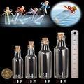 12-35ml Empty Glass Bottles With Cork DIY Clear Transparent Glass Jars  Wishing Bottles Drift Bottle Creative Decorative Vials