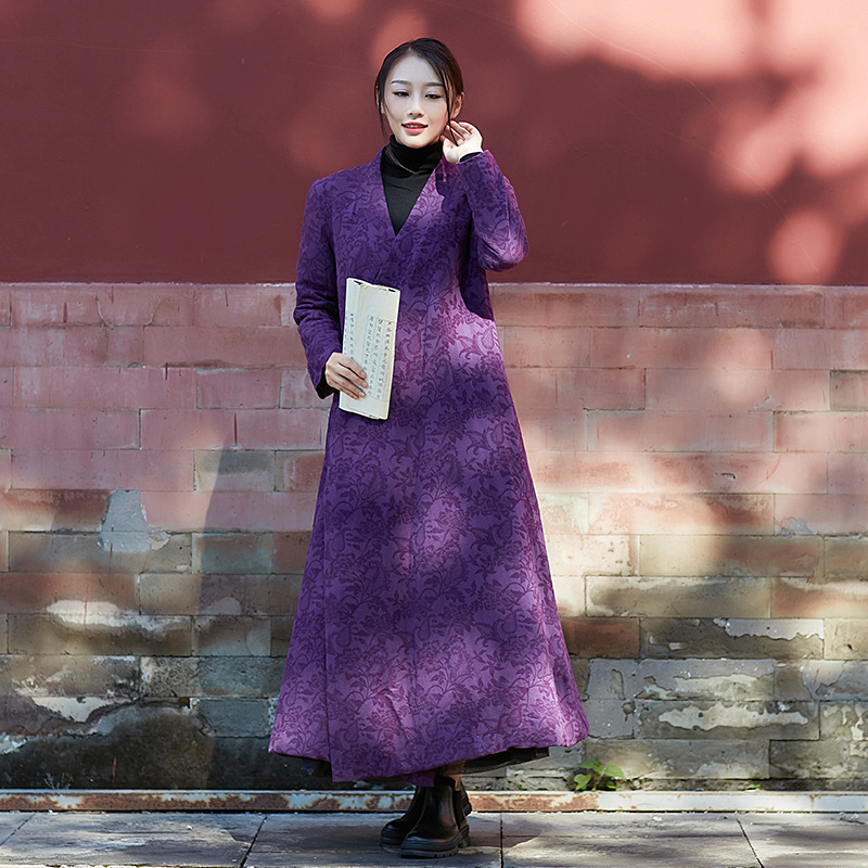 2017 New Winter The River Huan Purple Cotton Clothes Women Improved Chinese Clothing Guqin Tea Clothes Padded Lengthened huan nuo
