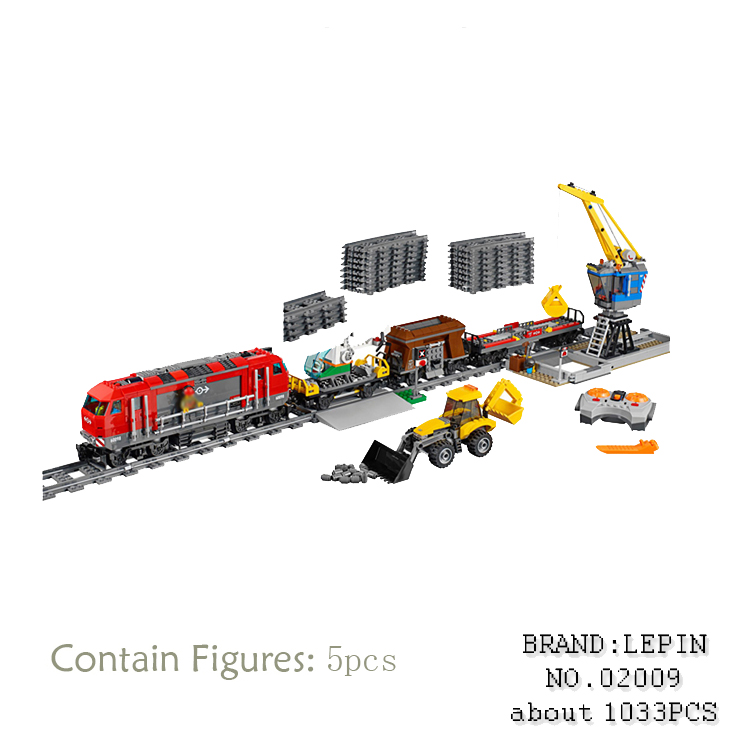 Lepin 02009 1033pcs City Engineering Remote Control RC Train car styling Set Educational Building Blocks Bricks