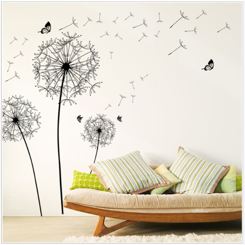 diy new design large black dandelion wall sticker art. Black Bedroom Furniture Sets. Home Design Ideas