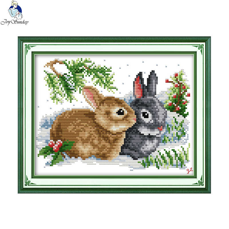Lucky rabbits Handmade Cross Stitch DMC 11CT 14CT Cross Stitch Set Chinese Cotton Cross-stitch Kits Embroidery Home Decor