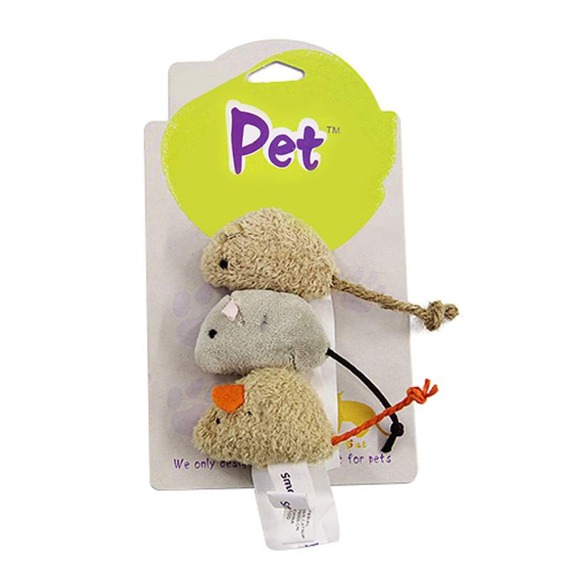 New Cat Toy Mouse Long Tail Fur Mice Toys Cat Products 3pcs/set Randomly