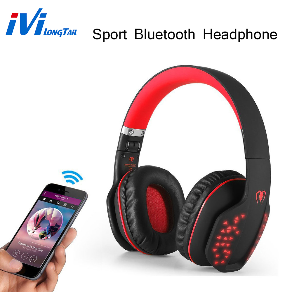 V4.1 Bluetooth Wireless Sport Headphones Stereo Portable Foldable Wired Earphone Compatibility BD LED Emitting Microphone skmei quartz digital sport watch men countdown chronograph double time switch led electronic wrist watches military wristwatches