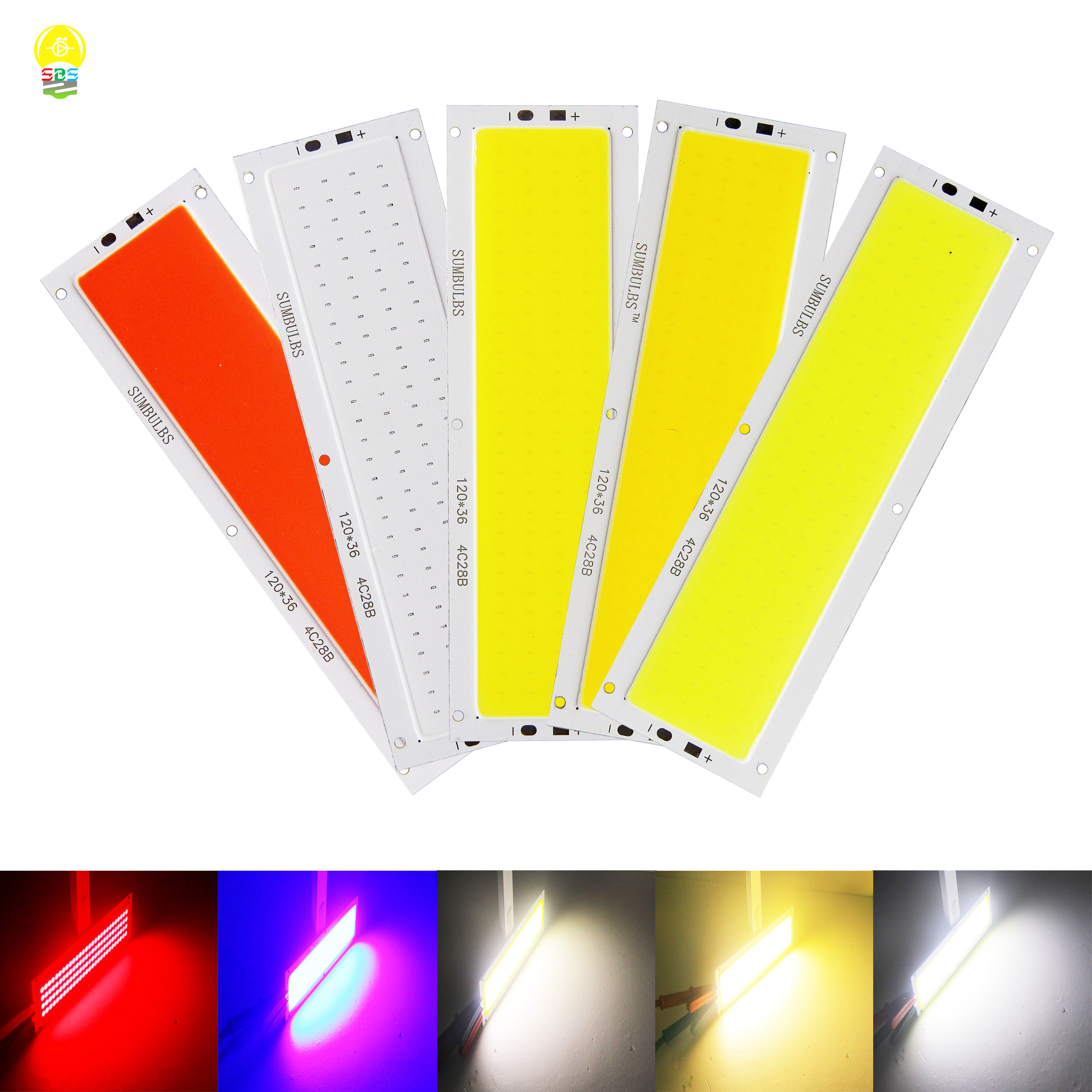 120*36mm Ultra Bright 1300LM 12W COB LED Light Strip 12V DC For DIY Car Lights Work Lamps Home Bulbs Bar COB Chip