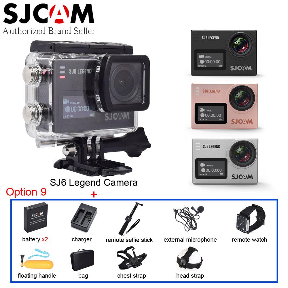 Original SJCAM SJ6 Legend 4K WiFi Action Camera 2 Touch Screen Sport DV+Remote Watch+Selfie Stick+Extended Mic+Many Accessories sjcam sj6 legend silver