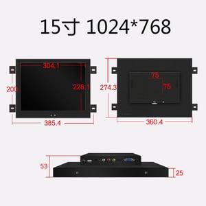 Image 2 - 15 polegada de metal escudo industrial usb tela toque parede do computador pendurado monitor com saída tv vga hdmi dvi av